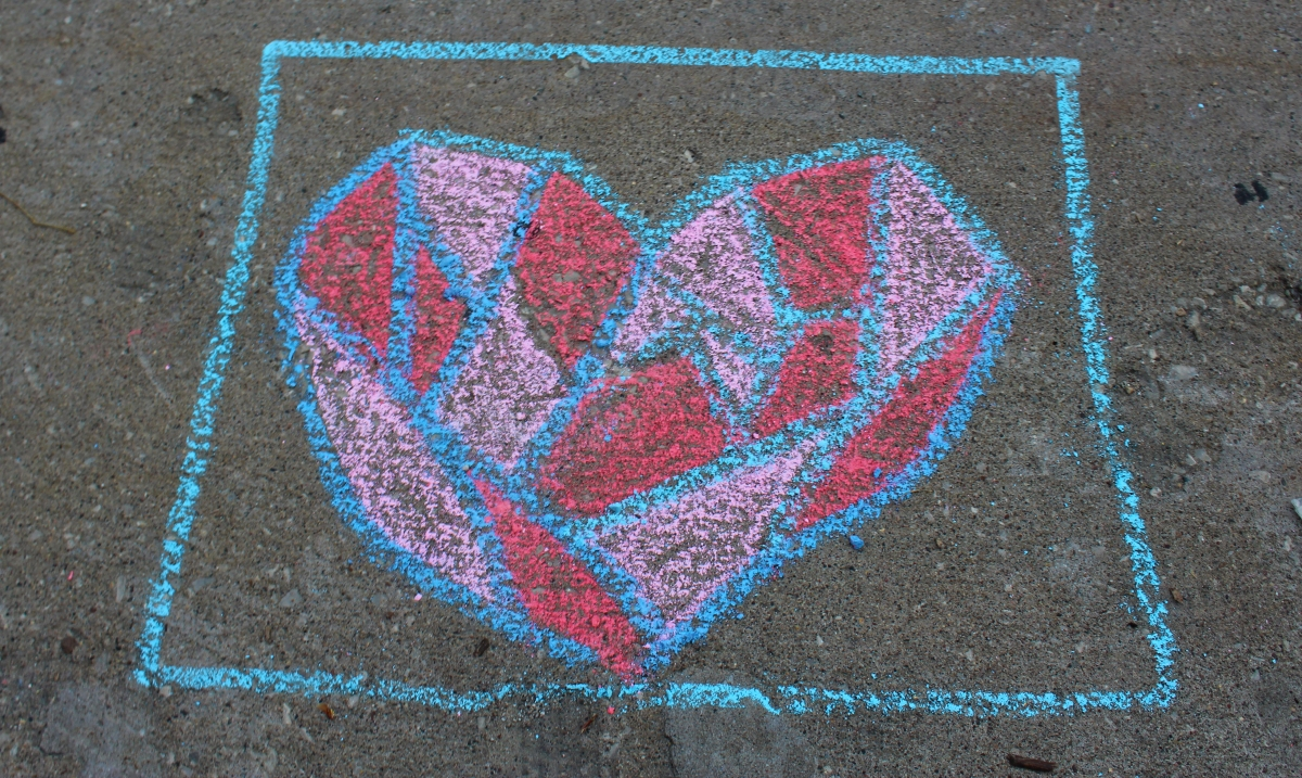 Muscatine Second Saturday: Fragmented heart drawn with chalk